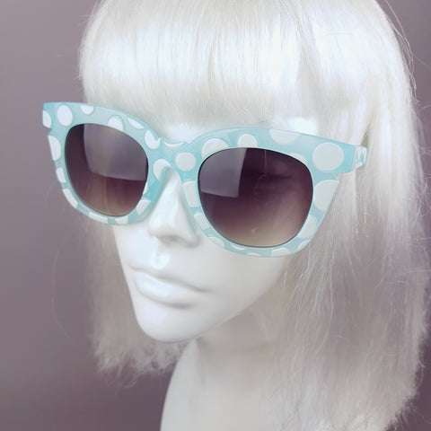Blue with White Polka Dot Sunglasses - SPECIAL OFFER