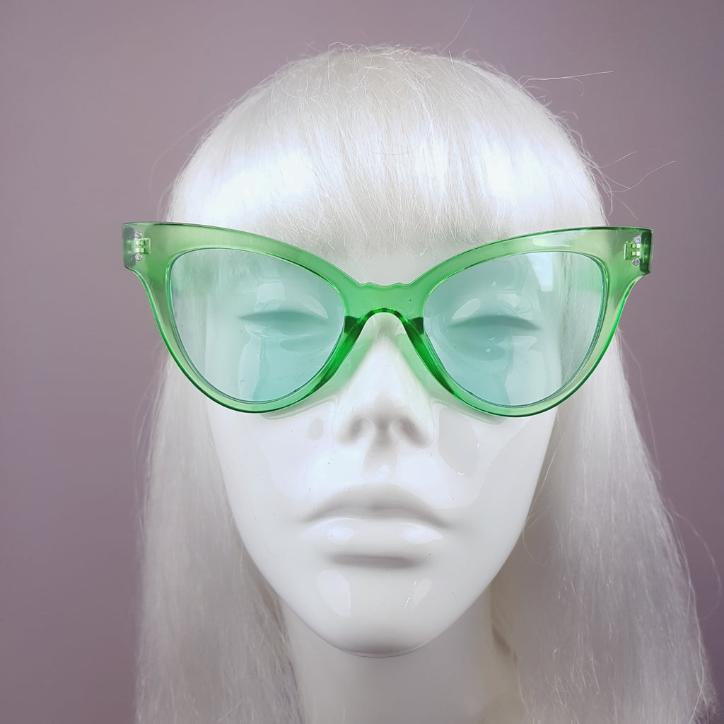 Green Cats Eye with Green Lenses Sunglasses - SPECIAL OFFER