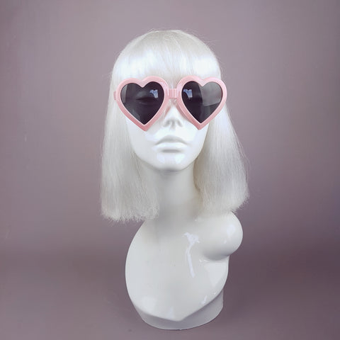 Baby Pink Heart Shaped Lenses Sunglasses - SPECIAL OFFER