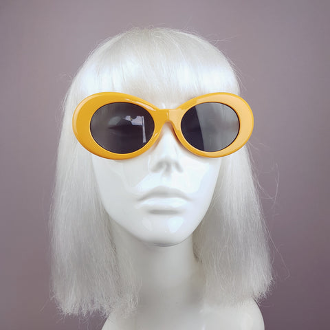 Orange Oval with Black Lenses Sunglasses - SPECIAL OFFER