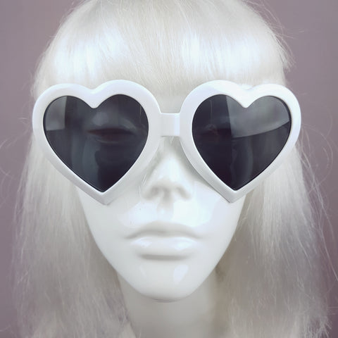 White Heart Shaped Lenses Sunglasses - SPECIAL OFFER