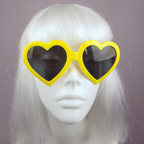 Yellow Heart Shaped Lenses Sunglasses - SPECIAL OFFER