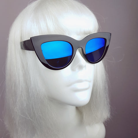 Black with Blue Mirror Lenses Cats Eye Sunglasses - SPECIAL OFFER