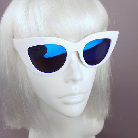 White with Blue Mirror Lenses Cats Eye Sunglasses - SPECIAL OFFER
