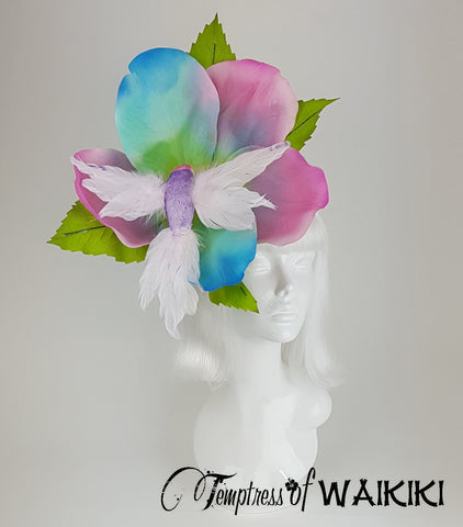 "Huge Rainbow Flower & Hummingbird Hat ""Bellissa"""