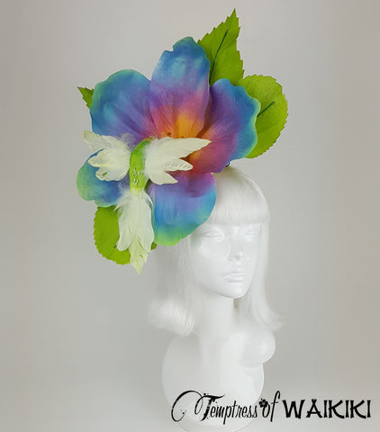 Giant Rainbow Flower & Hummingbird Headpiece for sale UK
