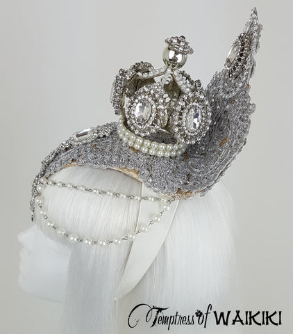 Gold & Silver Crown, diamond and pearl Headdress