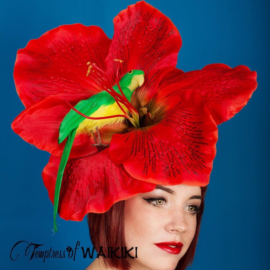 Giant Red Flower Parrot Royal Ascot Hat UK 0daea7c698a