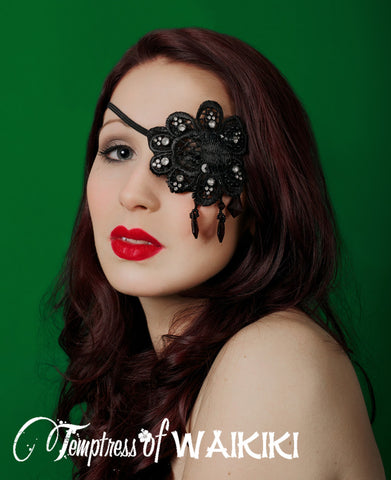 bespoke black lace sequinned eyepatch