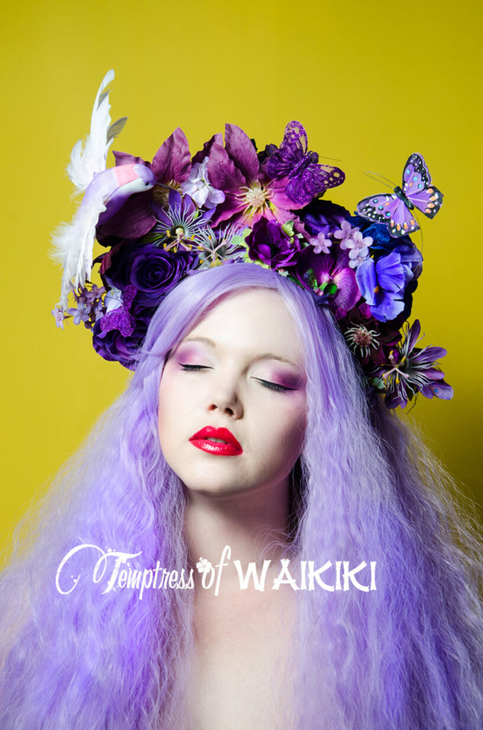 "Purple Floral Headdress ""Geisha"""