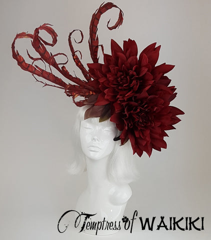 OTT Red Flower Headpiece, wedding hats, ladies hats for the races