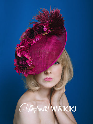 Pink Flower Royal Ascot Hat, Fascinator, Millinery UK