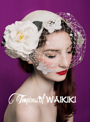 Vintage Style Ivory Birdcage Hat, Rock & Roll bridal headpiece