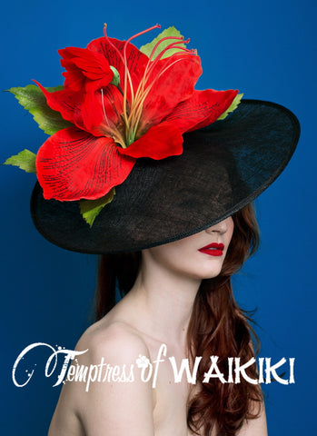 Giant Red Flower Black Royal Ascot Hat, Millinery UK