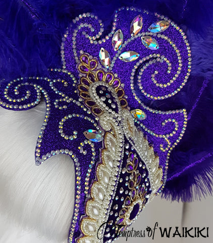close up detail on purple showgirl headdress