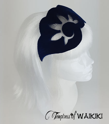 Blue Velvet Vintage Headpiece, bespoke british millinery