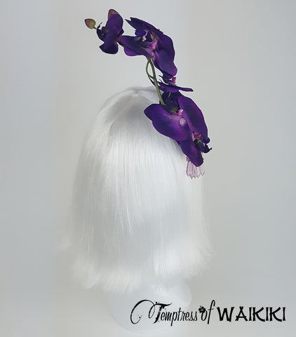 Purple Orchid Fascinator, ladies day Royal Ascot hats for sale