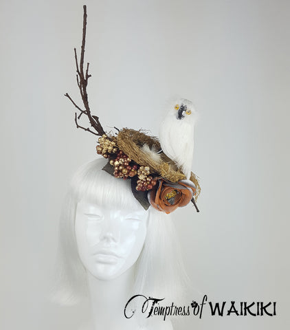 Owl Birds Nest Headpiece, quirky British millinery