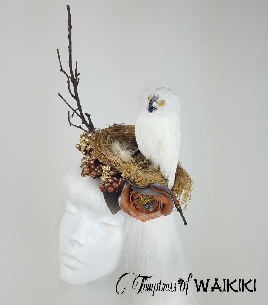 Owl Birds Nest Headpiece, royal ascot hats for sale UK