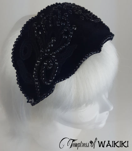 Black Velvet Vintage Headpiece, british millinery