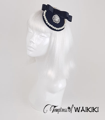 Black & Pearls Bejewelled Fascinator, ladies hats for sale