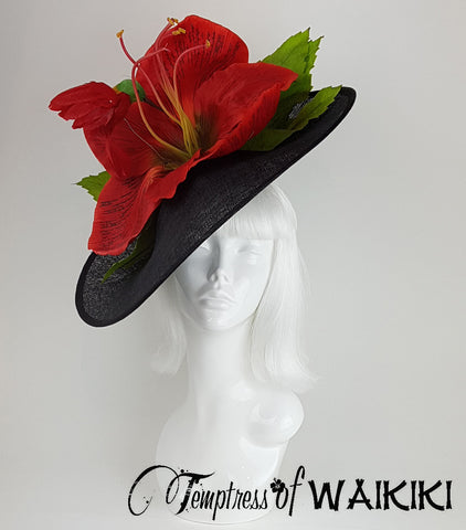 Giant Red Flower Black Royal Ascot Hats for Sale, UK