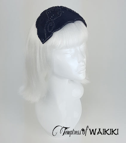 Black Velvet Vintage Headpiece, hats for sale UK