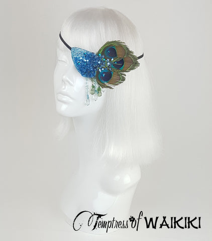 Peacock feather crystal eye patch