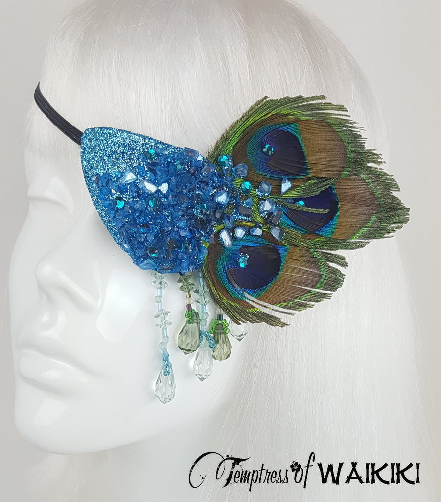 Peacock feather crystal eye patch dripping with beading