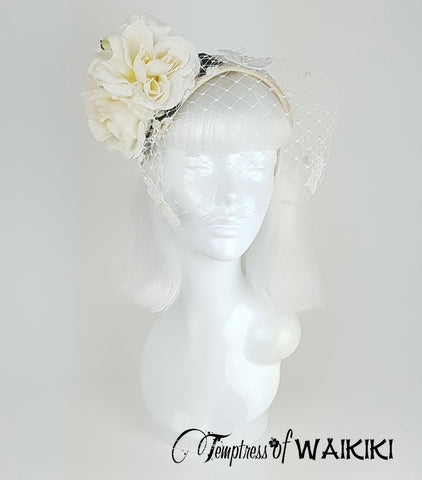 Vintage Style Ivory Birdcage Hat, bridal headpieces UK