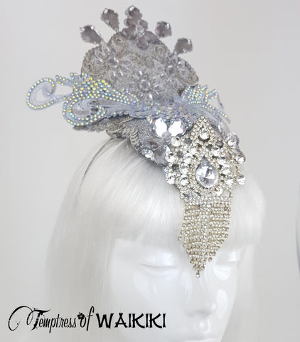Silver Crystal Burlesque Showgirl Headdress for sale UK
