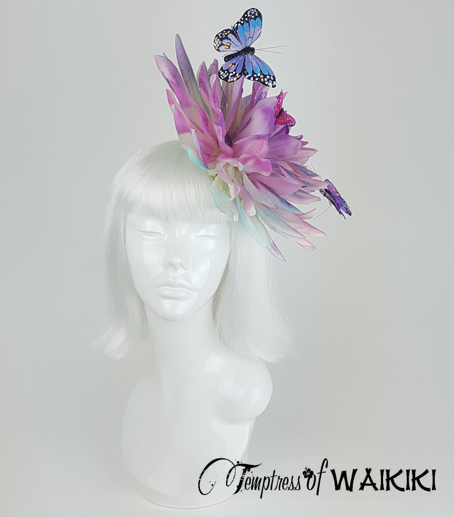 Butterfly hair accessories for weddings uk - Giant Pink Blue Flower Fascinator Wedding Hats For Sale Uk
