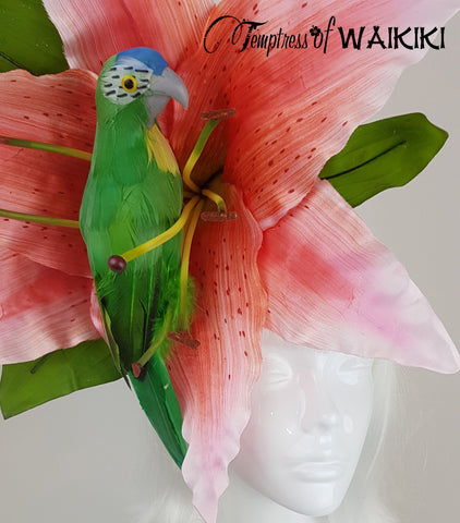 Giant Pink Flower & Parrot Headpiece, royal ascot hat