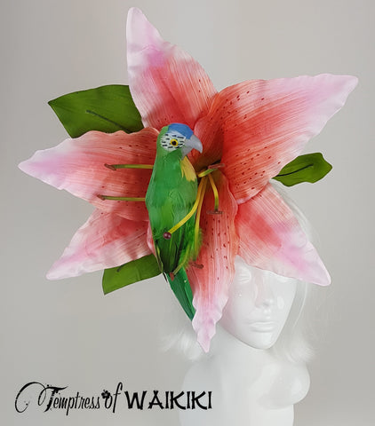 Giant Pink Flower & Parrot Headpiece, millinery UK