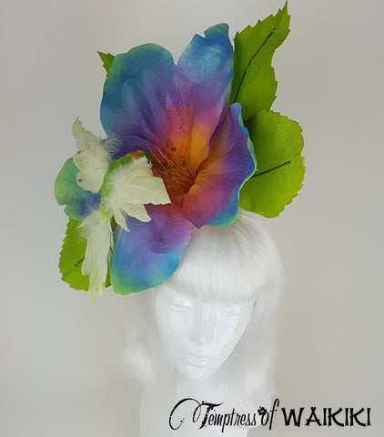 Giant Rainbow Flower & Hummingbird Hat, wedding hats for sale