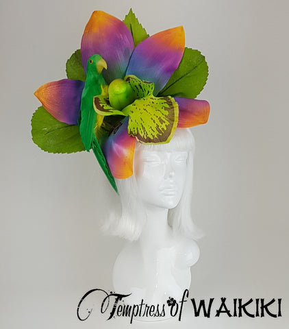 Giant Rainbow Orchid & Parrot Headdress for sale UK Wedding