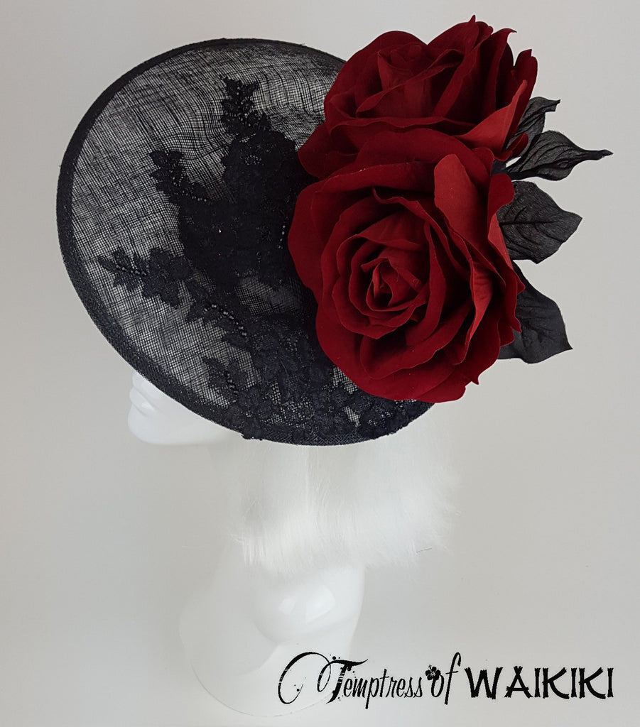 Red Rose Black Lace Royal Ascot Hat, Millinery UK