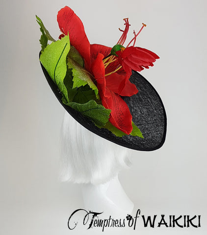 Giant Red Flower Black Royal Ascot Hats for the Races UK