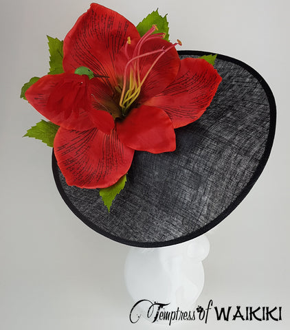 Giant Red Flower Black Royal Ascot Hat, Bird headpiece