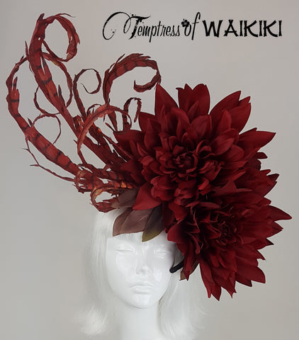 OTT Red Flower Headpiece, millinery for sale UK