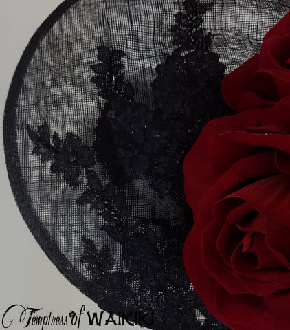 Red Rose Black Lace Royal Ascot Hat, bespoke Hatmaker