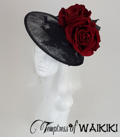 large Red Rose Black Lace Royal Ascot Hat UK