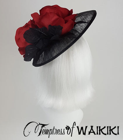 Red Rose Black Lace Royal Ascot Hat unique hats UK