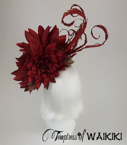 OTT Red Flower Headpiece, quirky british millinery
