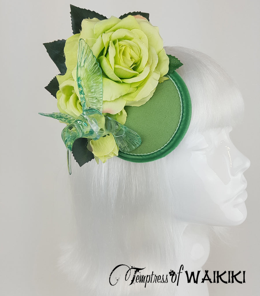 Lime green rose hummingbird unique headpiece