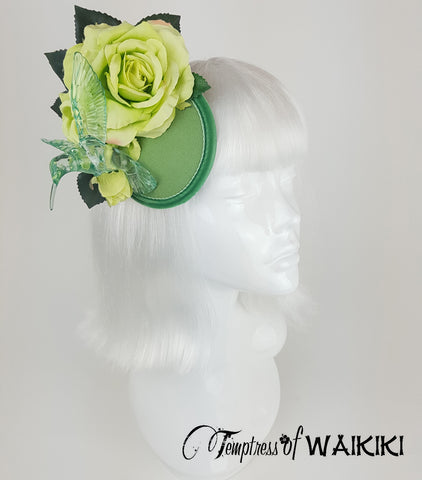Lime green rose flower bird fascinator