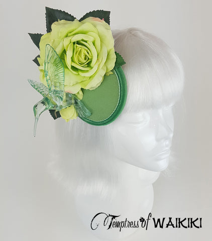 Lime green rose hummingbird headpiece