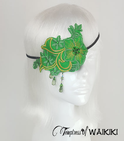 Green Lace Eye Patch