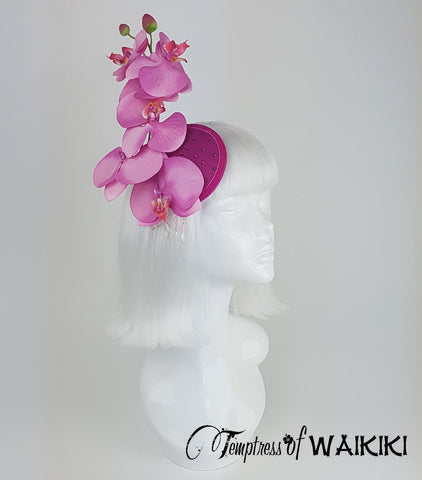 Pink Orchid Fascinator, wedding headpieces for sale UK