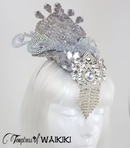 Silver glitter Showgirl unique bridal Headdress